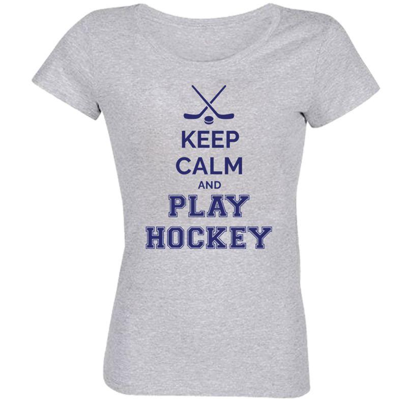 Skinny Keep Calm   Play Hockey GRIS